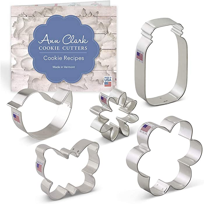 Ann Clark Cookie Cutters 5-Piece Flower Garden Cookie Cutter Set with Recipe Booklet, Butterfly, Bird, Flower, Daisy and Mason Jar