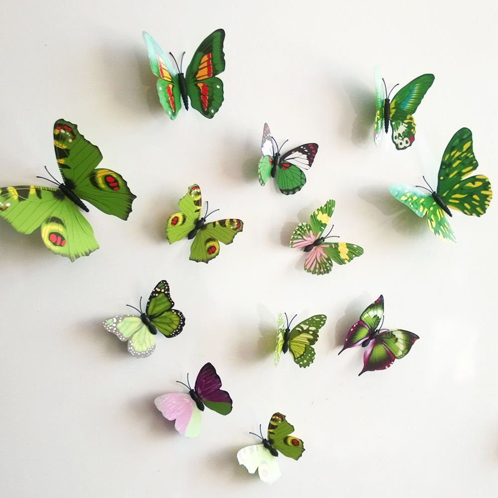 12 Pieces 3D Butterfly Stickrs Fashion Design DIY Wall Decoration House Decoration Babyroom Decoration-GREEN auto