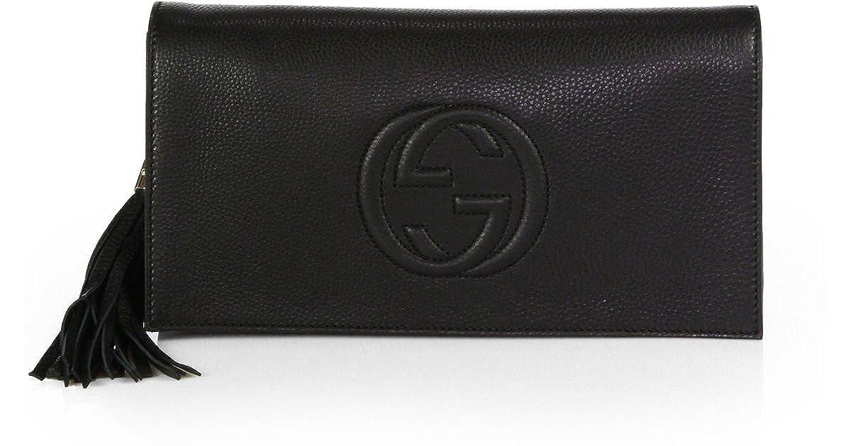 cd14c83c8c6f Gucci Soho Leather Clutch Envelope Black Bag Tassel Handbag New:  Amazon.co.uk: Shoes & Bags