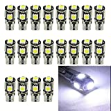 EverBright 20-Pack White 5050 5SMD CANbus Error Free LED Bulb T10 / 194 168 2825 W5W For Car Replacement CAN Bus Lights License Plate Lamp Door Reading Interior Lamp