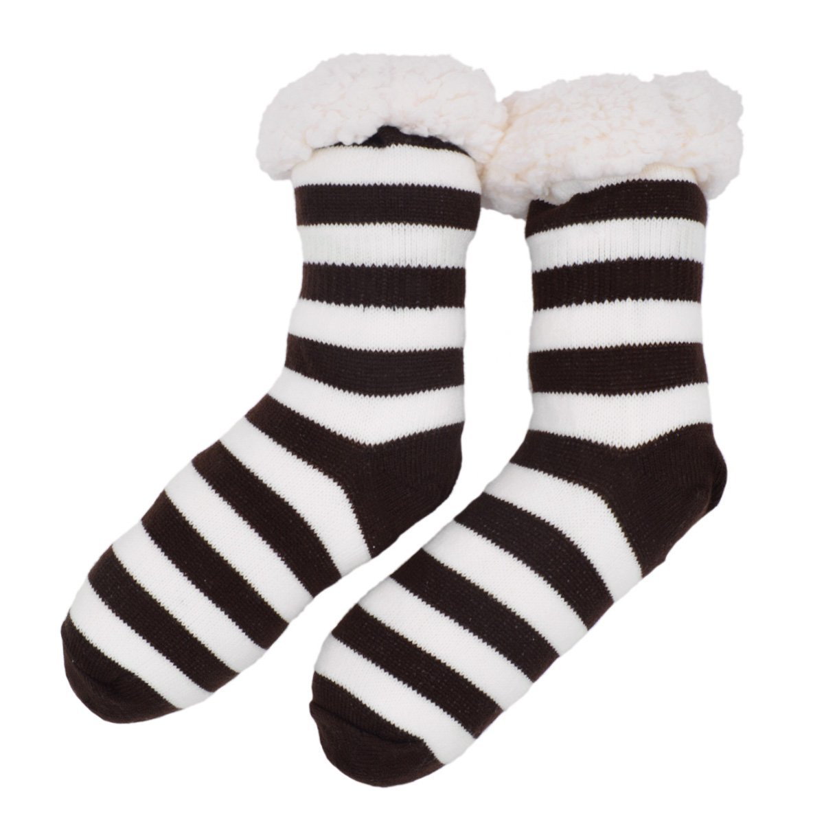 Extra Thick Striped Thermal Fleece-lined Knitted Plush Winter Socks Black SOG807BLK
