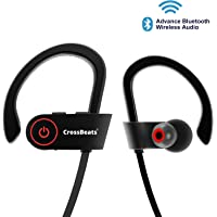 CrossBeats Raga Wireless Bluetooth Earphones with Microphone IPX-4 Sweatproof Sports Design with Carry Case, HD Sound, Super Bass (Cherry Black)