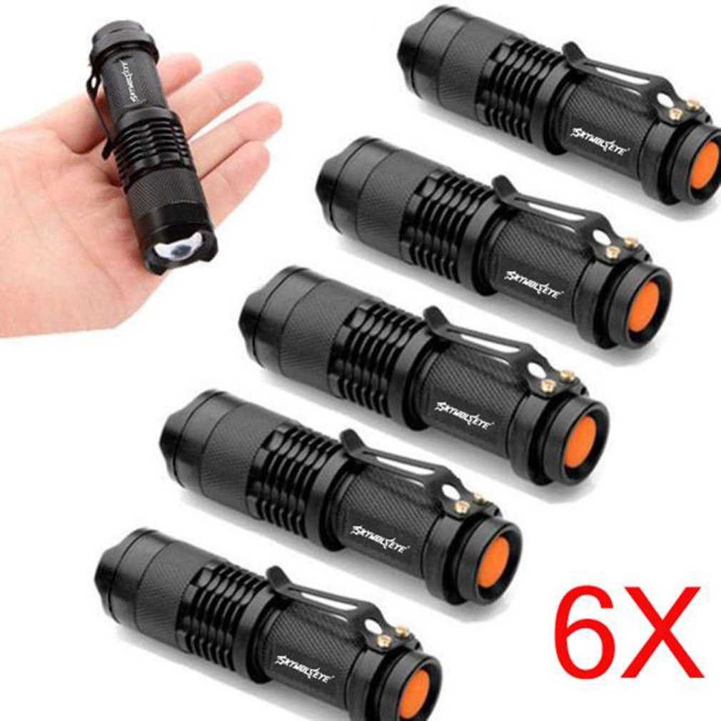 6Pack Tactical Taschenlampe, TopTen Fan-Motive 1200Lumen 3Modi Zoomable Camping LEDs Licht Taschenlampe für Angeln Jagd Wandern und Outdoor Aktivitäten
