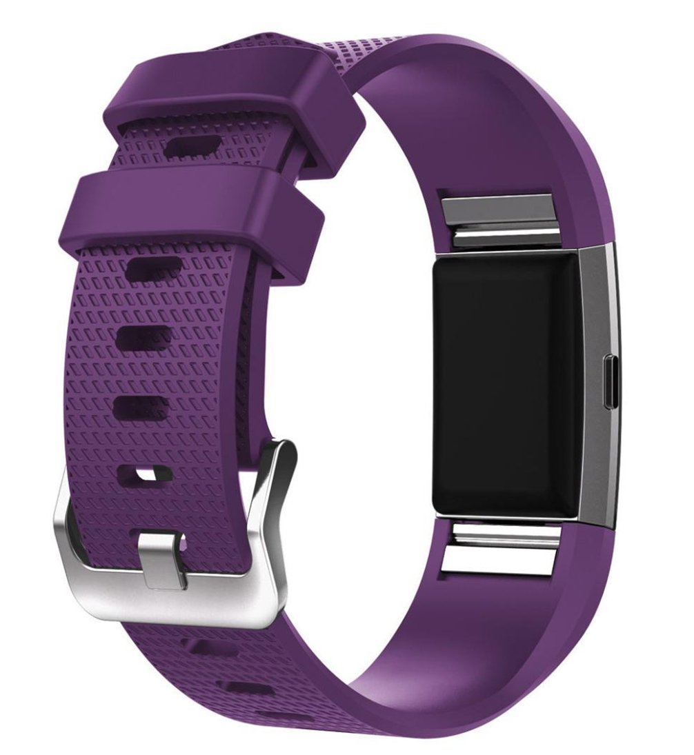 For Fitbit Charge 2 Bands, FreshZone Accessories Replacement Silicone Watch Band Wristband for Fitbit Charge 2 (No Tracker) (Purple)