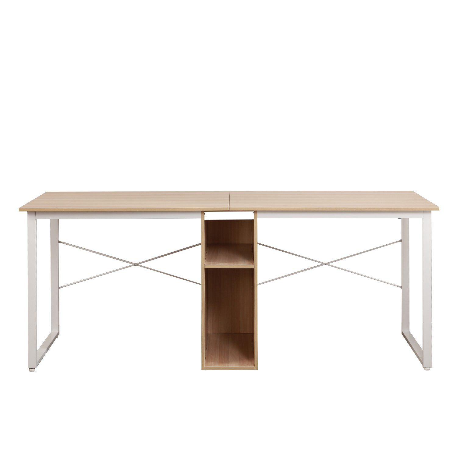 Soges 2-Person Home Office Desk,78 Large Double Workstation Desk Writing Desk with Storage White Oak HZ011-200-MO-CA