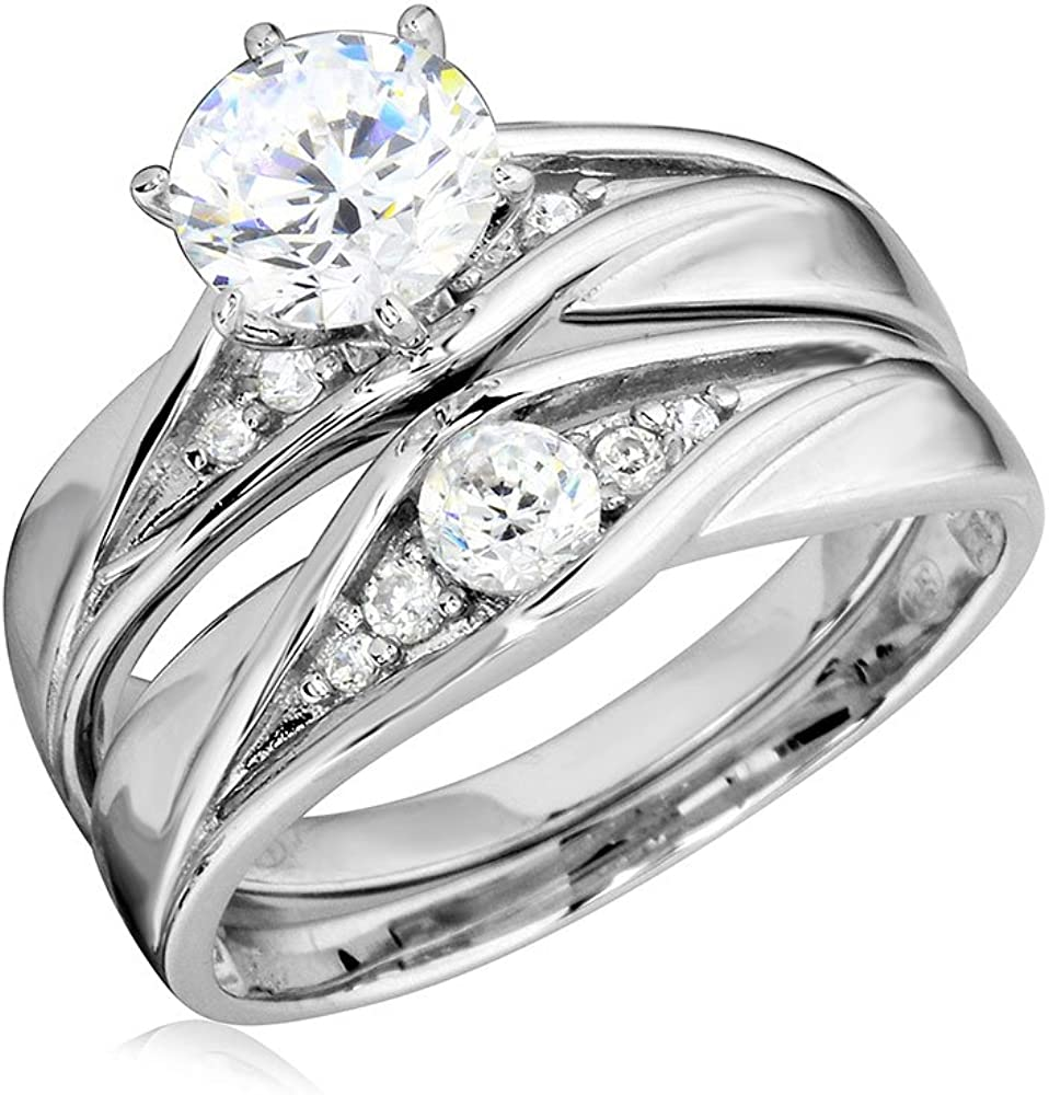 Princess Kylie Round Cubic Zirconia Two Piece Matching Wedding Ring Rhodium Plated Sterling Silver