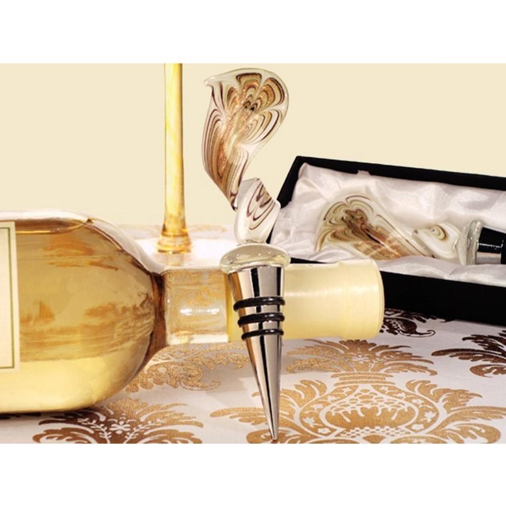 Murano art deco collection elegant golden swirl wine stopper