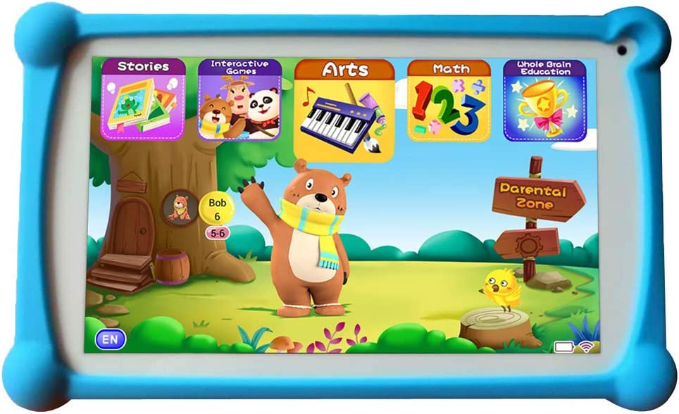 Kids Tablet, B.B.PAW 7 inch 1+16G WiFi Android 9.0 Google Certified Tablet for Kids with 120+ English Learning&Training Apps and Protective Case-Blue