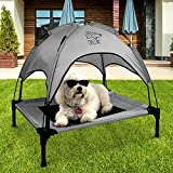 Outdoor Dog Bed - Floppy Dawg Just Chillin Dog Cot With Canopy for Small and Medium Dogs | Elevated Pet Bed for Indoors and Outdoors is Lightweight and Portable | Measures 30 Inches by 24 Inches