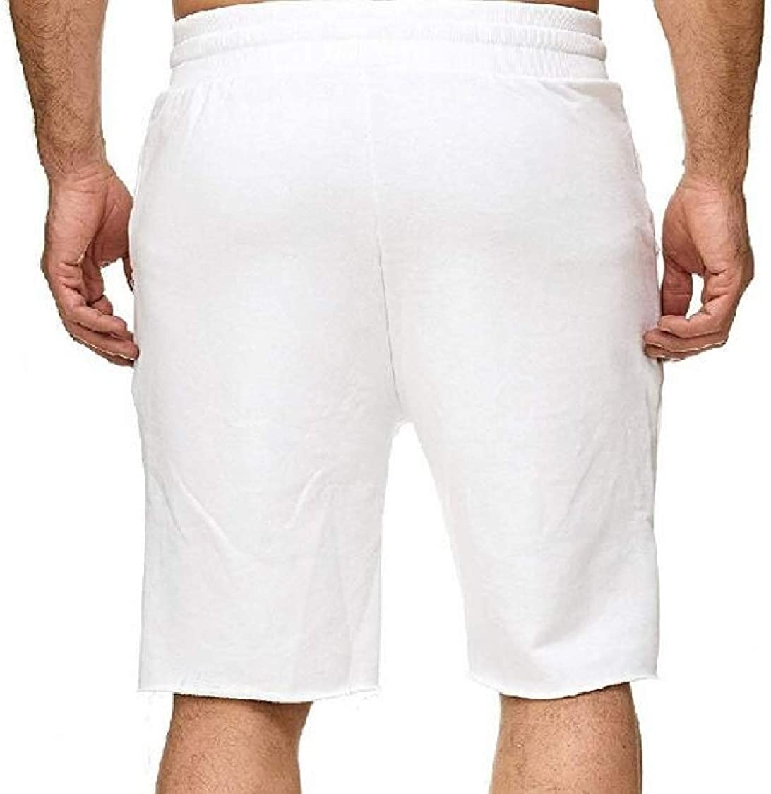 SELX Men Running Casual Beach Knee Length Drawstring Shorts Sweatpants
