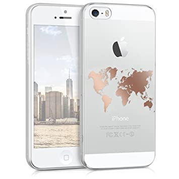 kwmobile Funda para Apple iPhone SE / 5 / 5S - Carcasa Protectora de [TPU] con diseño de Mapa del Mundo en [Oro Rosa/Transparente]