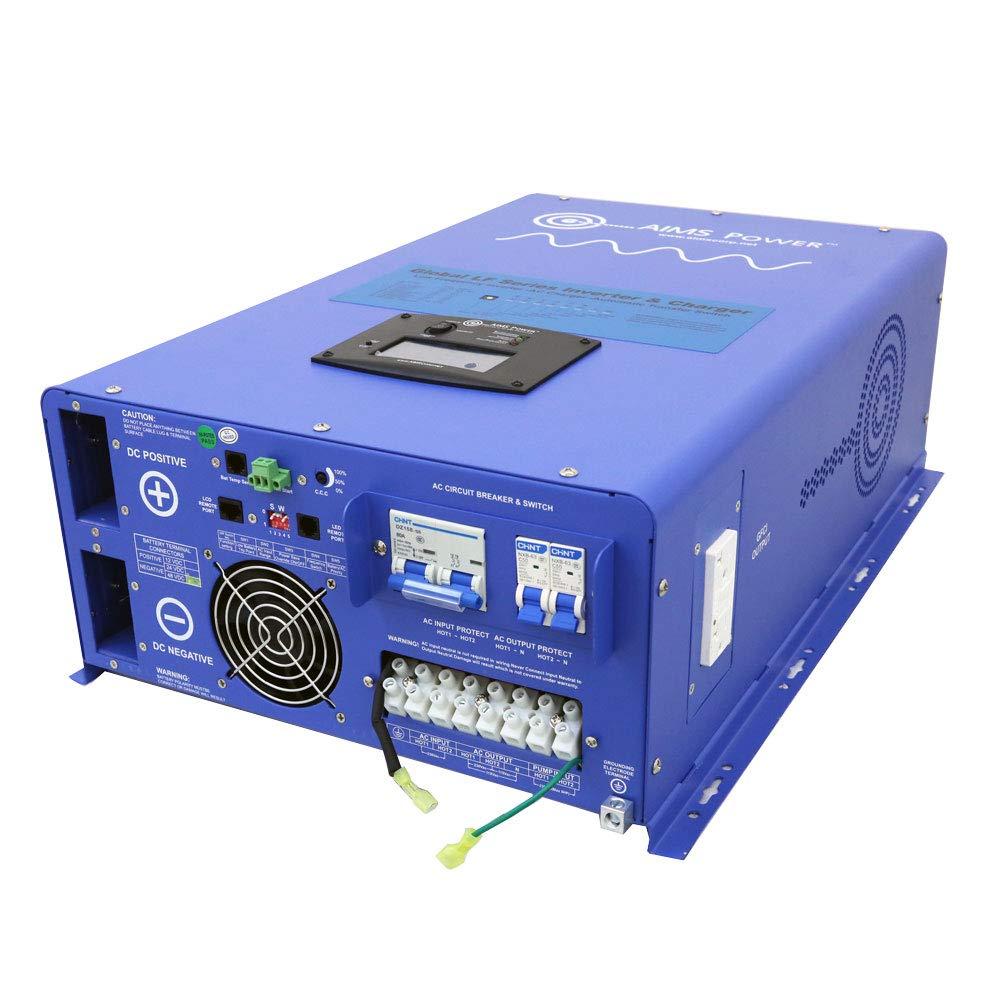 Aims Power 10,000 Watt Pure Sine Inverter Charger  48Vdc & 240Vac Input to 120/240Vac Split Phase Output w/ 30KW Surge 50/60Hz