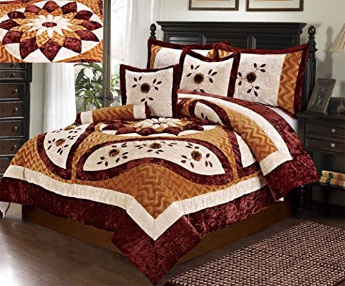 Tache Home Fashion ZC1021-Q Warm Orange Brown Burgundy Medallion Sunflower Autumn's Last Blossom Quilted Comforter Bedding Set, Queen ()