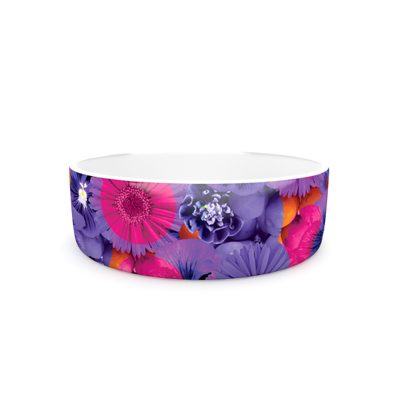 Kess InHouse Akwaflorell Find the Tiger  Pet Bowl, 7-Inch, Purple Pink