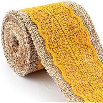 La Cinta del cordón eDealMax arpillera de la arpillera arte Elaboración ajuste del borde del Rollo DE 2,2 yardas Amarillo Para la boda Decoración Para el ...