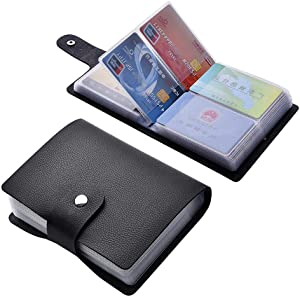 Angimi Leather Credit Card Holder, Business Card Organizer with 60 Card Slots for Storing and Preventing Credit Card or Business Card Loss (Black)