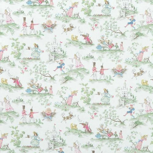 Covington Over The Moon White Fabric - by the (Nursery Rhyme Fabric)