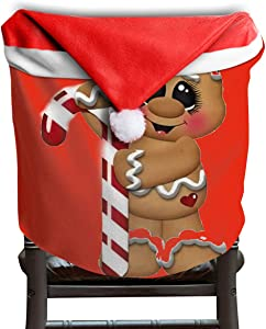 Bird Fir Candy Cane Christmas Gingerbread Man Art Christmas Seat Chair Cover Dinner Table Party Home Decor Decorations
