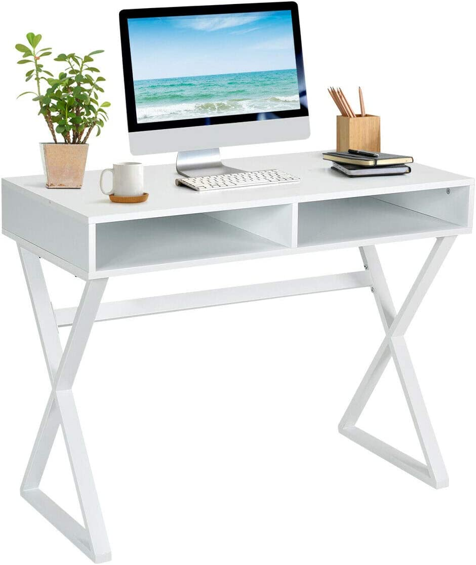 Tangkula Modern Computer Desk, Makeup Vanity Table, Multifunctional Table with 2 Storage Compartments, Writing Desk for Home, Office and Study White