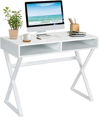 Tangkula Modern White Computer Desk