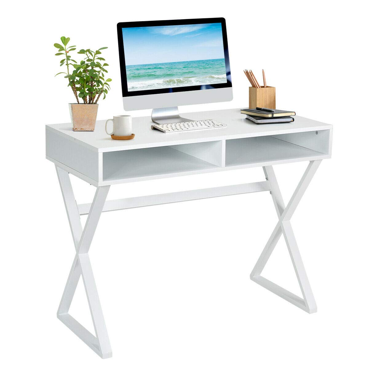 Tangkula Modern Computer Desk, Makeup Vanity Table, Multifunctional Table with 2 Storage Compartments, Writing Desk for Home, Office and Study (White) by Tangkula