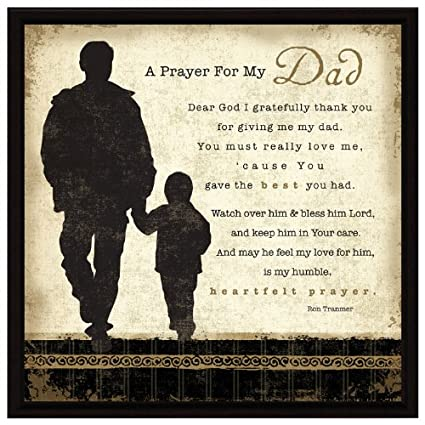 "Dad Prayer Wood Framed Plaque Father Inspiring Quote – 7 5"" Square Frame  Wall & Tabletop Decoration 