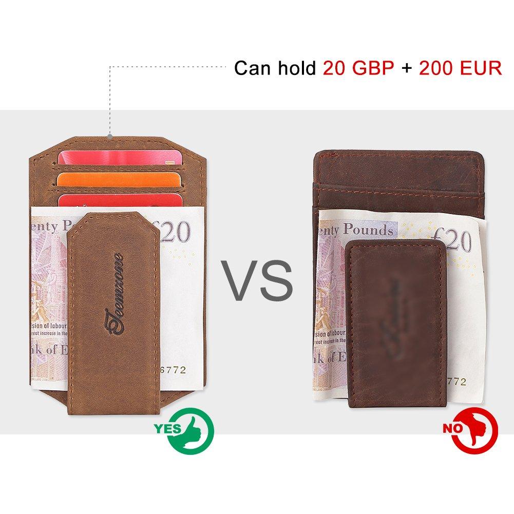 Kreditkartenetui aus Echtes Leder 9 Kartenf/ächer Geldbeutel M/änner Leder Flache Kleine Geldb/örse Herren f/ür ScheckkartenTEEMZONE