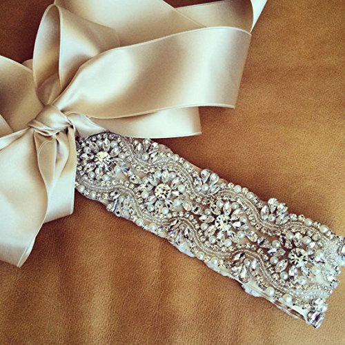 Beaded Trim White,Rhinestone Applique Sash,Pearl Bridal Sash,Beaded Bridal Belt,Bridal Gown Sash,Cream Sash, Flower Girl Prom - Flowers Gold Beaded