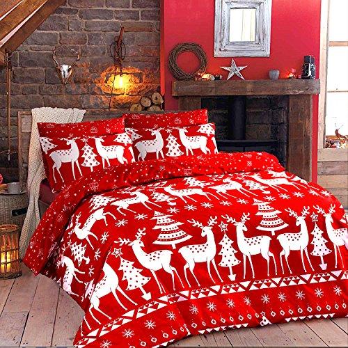 AdamLinens , Completo letto matrimoniale copripiumino e federa decoro Natale  linea Christine, colore rosso natalizio Amazon.it Casa e cucina