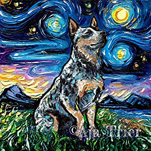 Blue Heeler Starry Night van Gogh Australian Cattle Dog Art Print by Aja choose size and type of paper Wall decor artwork 1