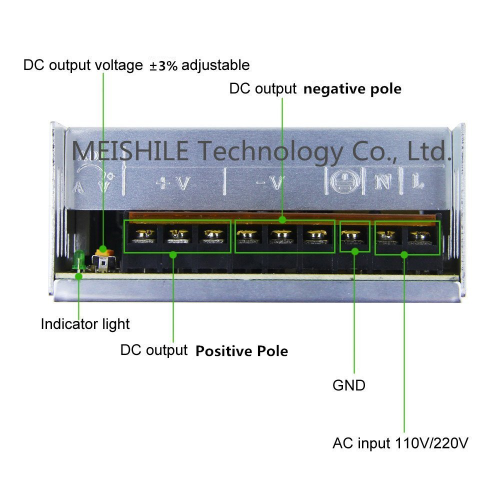 Meishile 12v 25a 300w Led Strip Light Driver Switching Wiring Diagram Plc Dc Inputs To Ac Outputs Electronics