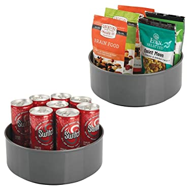 mDesign Plastic Lazy Susan Spinning Food Storage Turntable for Cabinet, Pantry, Refrigerator, Countertop - Spinning Organizer for Spices, Condiments, Baking Supplies - 9  Round, 2 Pack - Charcoal Gray