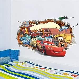 ملصقات جدارية ثلاثية الأبعاد لمسار سيارات سباق سريع وثلاثية الأبعاد لغرف الأطفال وغرفة النوم