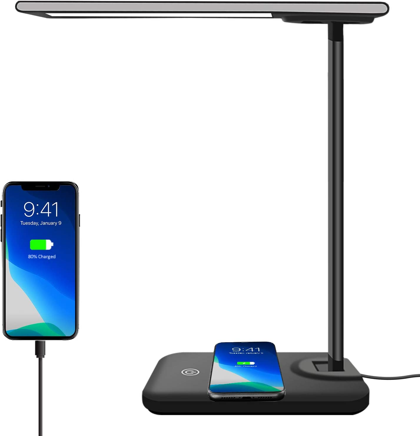 AOBISI LED Desk Lamp with Wireless Charger,Dimmable Office Lamp with USB Charging Port,Wireless Charging,Touch Control,3 Lighting Modes 6 Brightness Levels,Eye-Caring Table Lamp (Adapter Included)