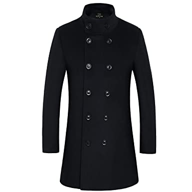 5ccfa2fd8 Men s Premium Wool Blend Double Breasted Long Pea Coat at Amazon ...