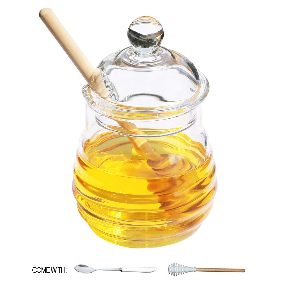 Itikky Honey Jar Pot High Borosilicate Glass and dipper wooden silicone Beehive Style 9.5 fl oz
