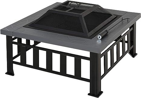 Outsunny Brasero Exterior de Metal Multifuncional Tipo Calentador 3 en 1 como Pozo de Fuego/BBQ/Cubo de Hielo para Terraza Patio y Jardín 86x86x54 cm