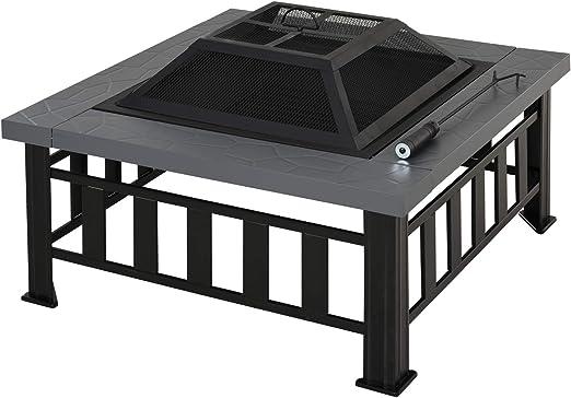 Outsunny Brasero Exterior de Metal Multifuncional Tipo Calentador 3 en 1 como Pozo de Fuego/BBQ/Cubo de Hielo para Terraza Patio y Jardín 81x81x46cm: Amazon.es: Jardín