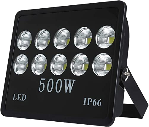 WEDO 500W LED Flood Light, Ultra Bright 50000Lm, 60 Degrees Angle Reflector, Outdoor Waterproof IP66 Security Lighting for Landscape, Garage, Billboards, Daylight White 6500K No Plug