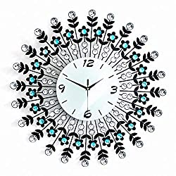 MAGCOLOR 23 Crystal Metal Large Wall Clock, 9.4 Green Glass Dial with Arabic Numerals Suitable for Decorative Living Room, Bedroom and Office