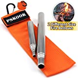 PSKOOK 2 Size Pack Pocket-Size Fire Bellows Collapsible Stainless Steel Fire Blower Pipe Builds Campfire Tool with Poly Carrying Bag (2 Size)