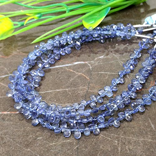 1 strand Natural Iolite 4-5mm Faceted Pear Briolette Beads / Approx 85 pieces on 7 Inch long strand Christmas Sale.