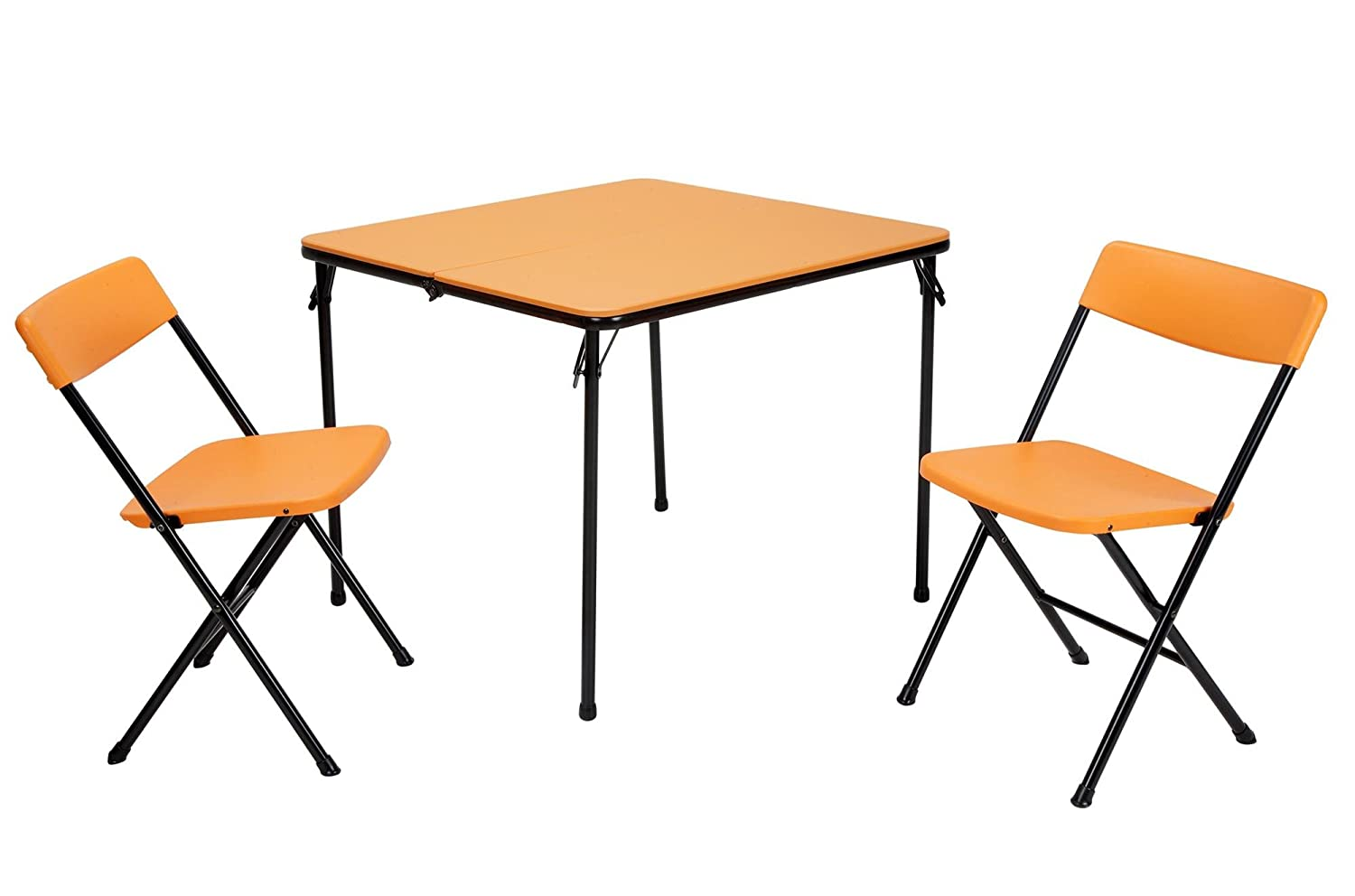 COSCO 3 Piece Indoor Outdoor Center Fold Table and 2 Chairs Tailgate Set, Orange, Black Frame
