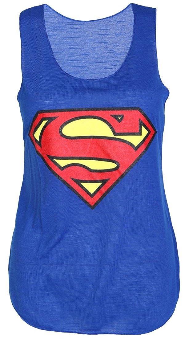 Red Olives® Womens Superman Print Vest Top Ladies Batman Print Sleeveless Tank Tops T-Shirt UK 8-14