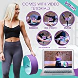 Yoga Wheel w/BONUS Video Tutorials - Durable & Comfortable Premium Dharma Yoga Wheel for Stretching, Back/Spine Pain, Improving Yoga Poses & Backbends, Flexibility & Core Strength!
