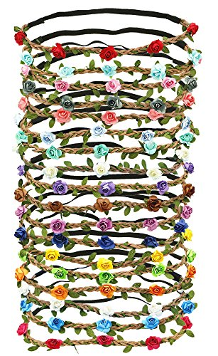 18 PCS Multicolor Flower Headband Women Girl Bohemian Flower Crown Garland headpieces For Festival -