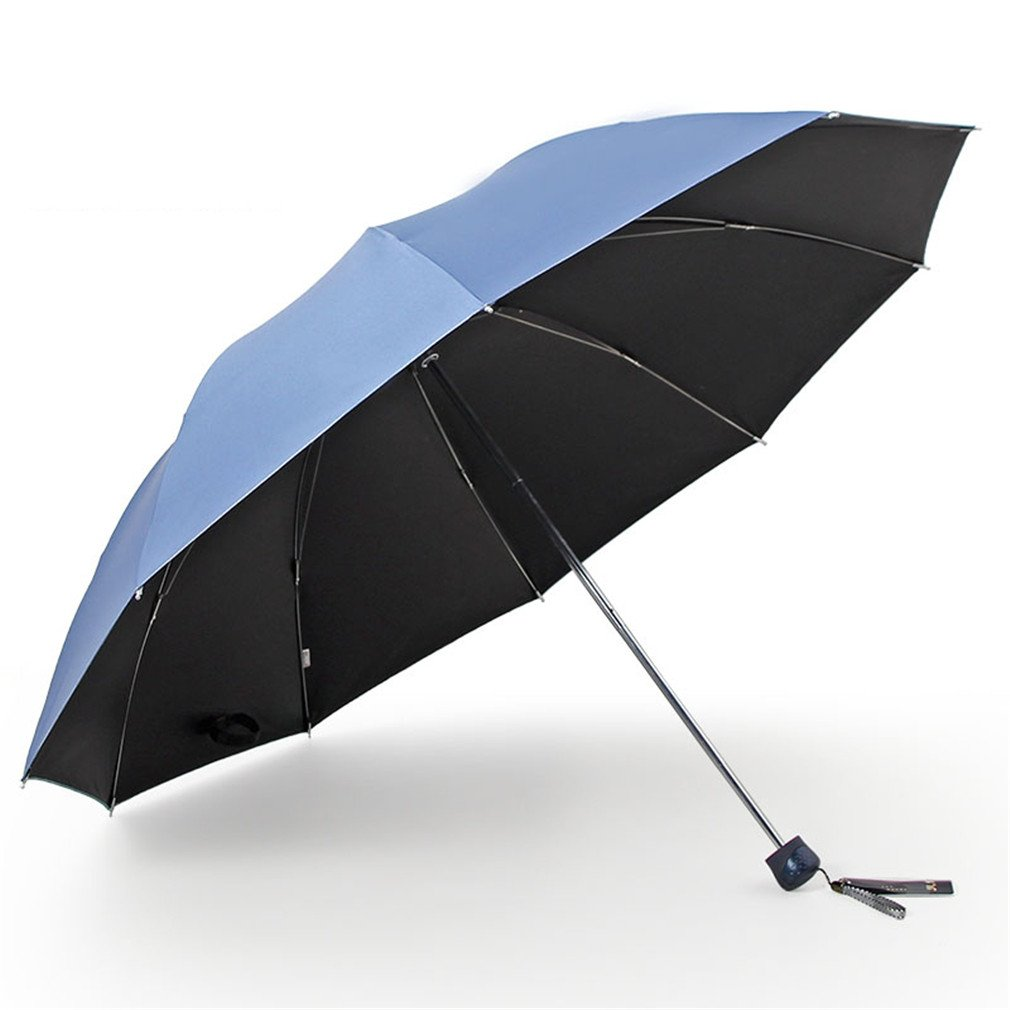Guoke One Umbrella Male And Large Female Students Fold Reinforcement Two Umbrellas With A Fine, Gray-Blue - Black Rubber - 10 6Æ