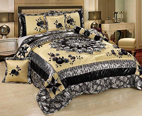 Tache 4 Piece Black and White Winter Moon Patchwork Comforter Set