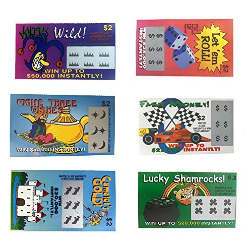 Fake Lottery Tickets-(Pack 10 Tickets)-Each ticket is a fake winner of 20,000 or more!!! Big Winners That Look Like Real Scratch Off Tickets