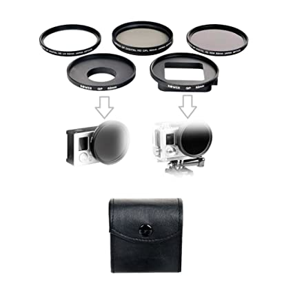 Filter Set For GoPro HERO3+ and HERO4 - Filter Kit Includes: Ultraviolet  (UV), Circular Polarizer (CPL), Neutral-Density ND8 Filters - 52mm Adapter